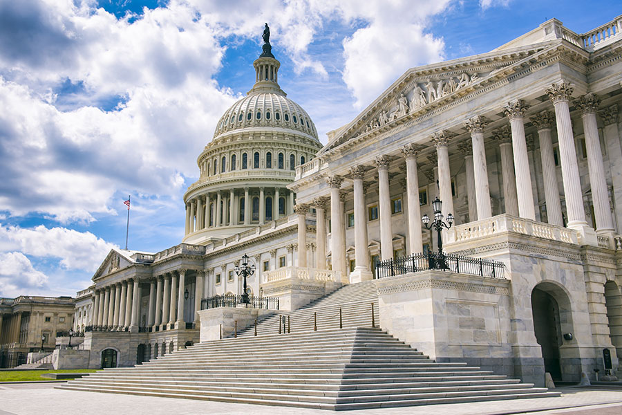 Blog - Mid Distance View of the Traditional Neoclassical Architure of the Capital Building's Dome, Clumns, and Steps in Washington DC