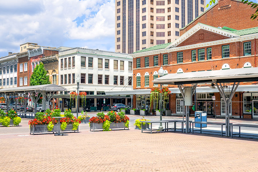 Winchester, VA - View of Main Street Square by Small Town Business Storefronts in Roanoke Virginia